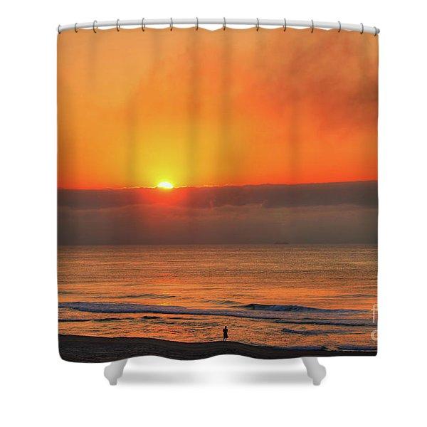 Orange Sunrise On Long Beach Island Shower Curtain