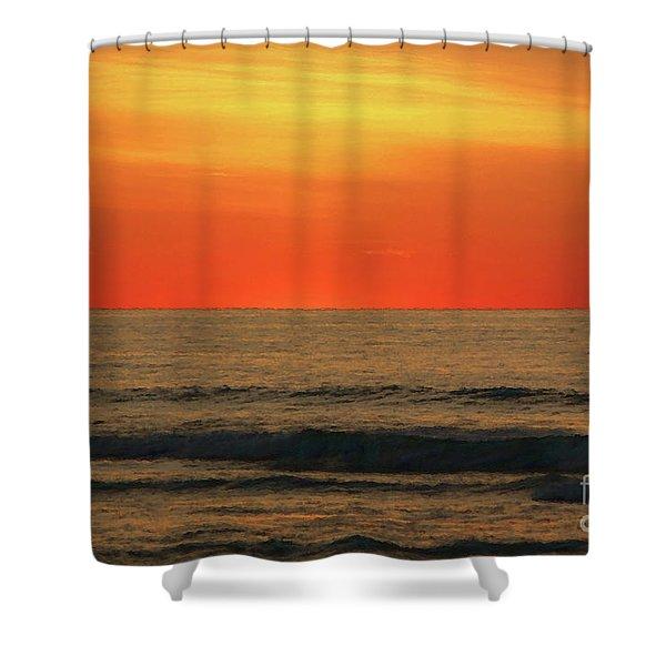 Orange Sunset On The Jersey Shore Shower Curtain