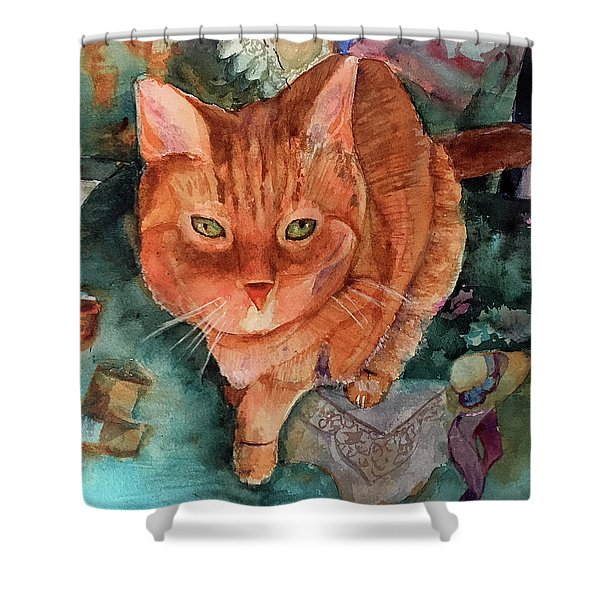 Orange Tabby Shower Curtain