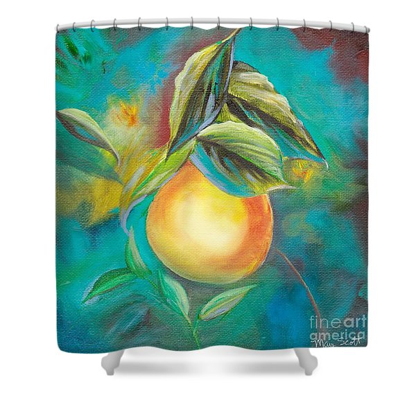 Shower Curtain featuring the painting Orange Tree by Mary Scott