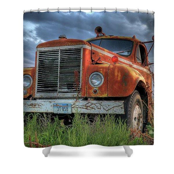 Orange Truck Shower Curtain