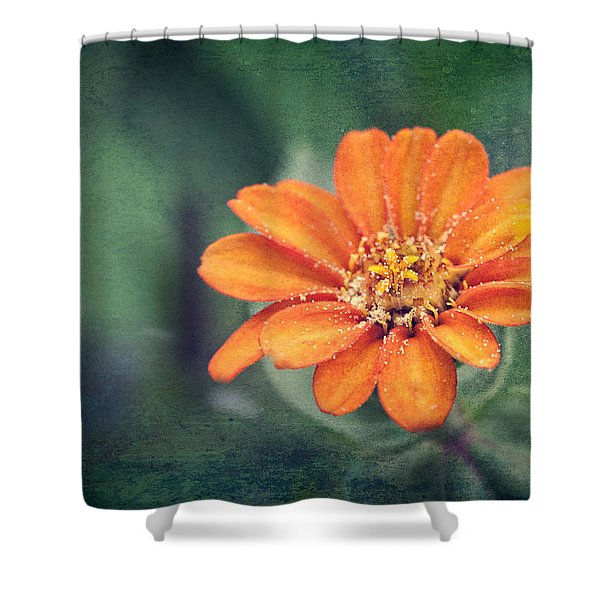 Orange Zinnia Shower Curtain