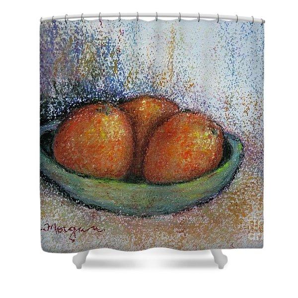 Oranges In Celadon Bowl Shower Curtain