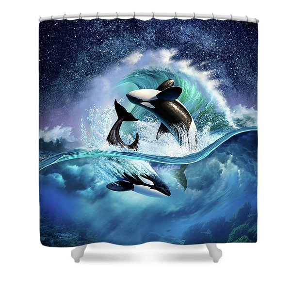 Orca Wave Shower Curtain
