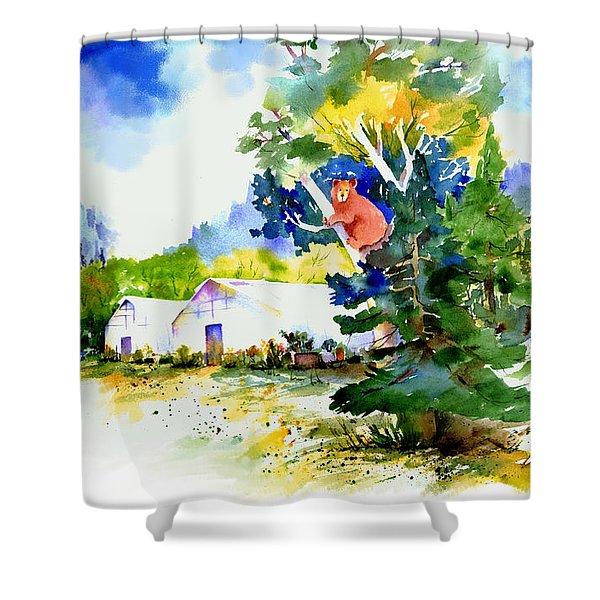 Orchard Springs Bear Shower Curtain