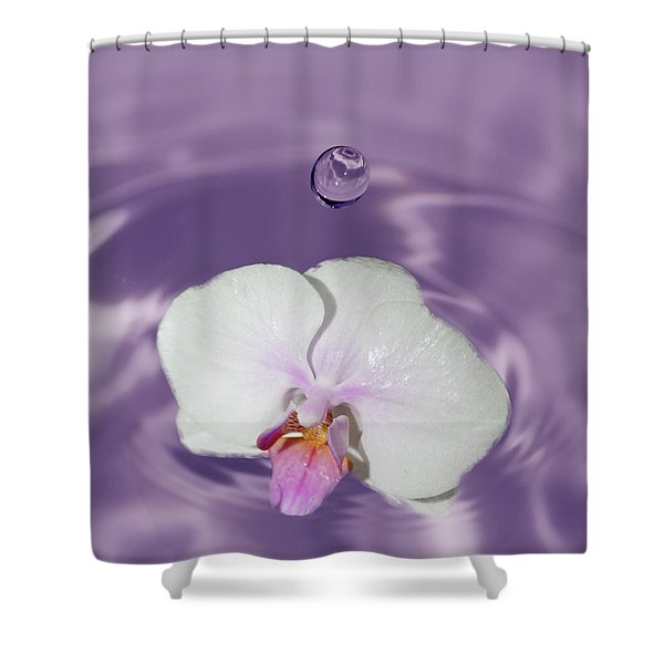 White Orchid Water Drop Shower Curtain