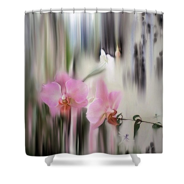 Orchids With Dragonflies Shower Curtain