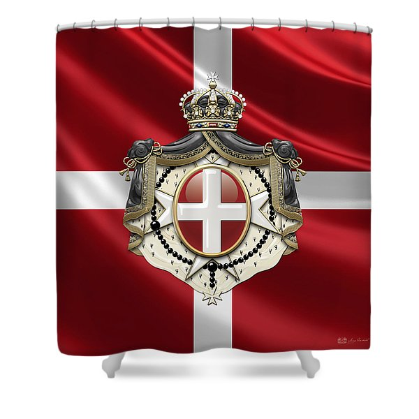 Order Of Malta Coat Of Arms Over Flag Shower Curtain