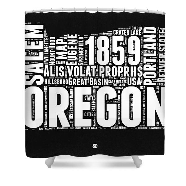 Oregon Black And White Map Shower Curtain
