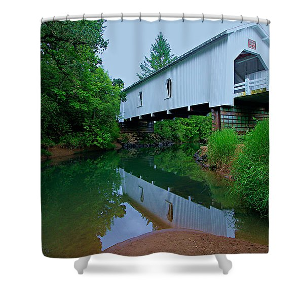 Shower Curtain featuring the photograph Oregon Covered Bridge by Sean Sarsfield