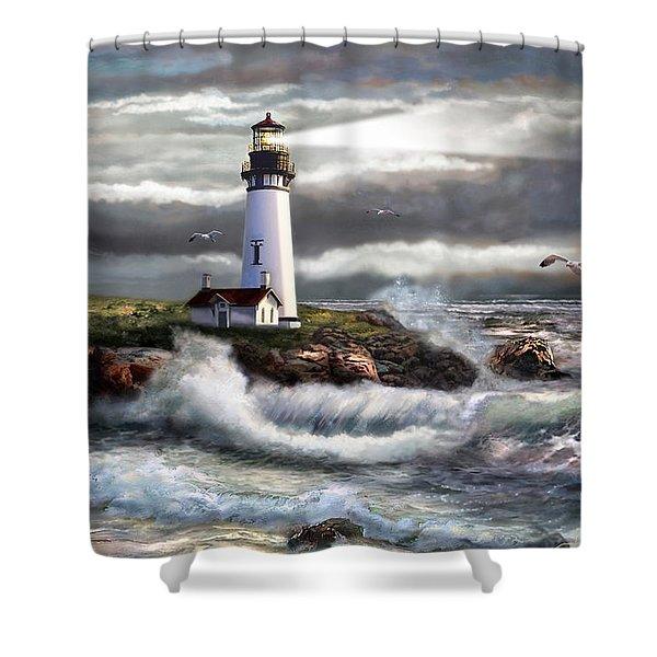 Oregon Lighthouse Beam Of Hope Shower Curtain