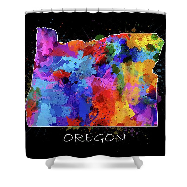 Oregon Map Color Splatter 2 Shower Curtain