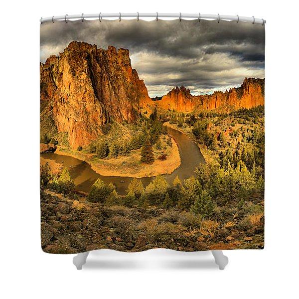 Oregon Smith Rock Panorama Shower Curtain