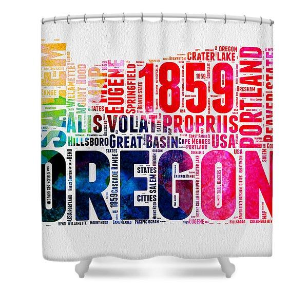 Oregon Watercolor Word Cloud Shower Curtain