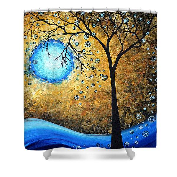 Orginal Abstract Landscape Painting Blue Fire By Madart Shower Curtain
