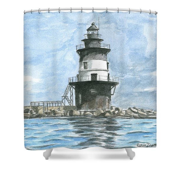 Shower Curtain featuring the painting Orient Point Lighthouse by Dominic White
