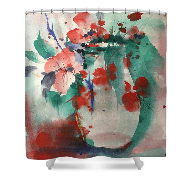 Oriental Brush Flowers And Vase Shower Curtain