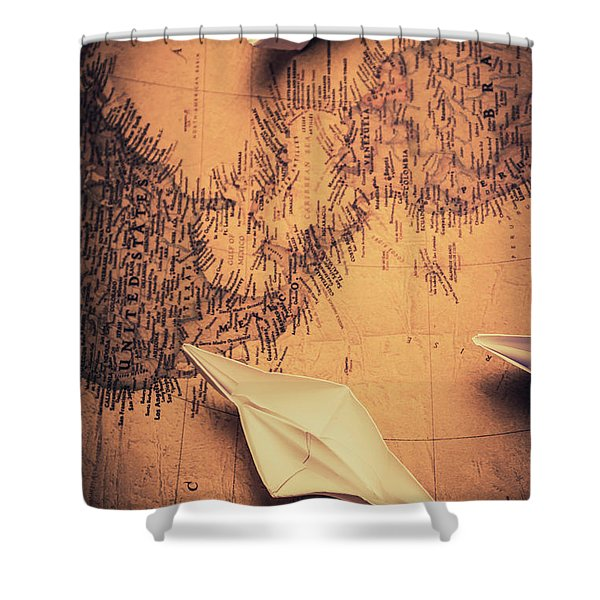 Origami Boats On World Map Shower Curtain