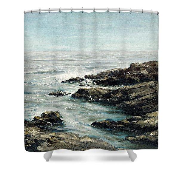 Shower Curtain featuring the painting Original Fine Art Painting Bass Rocks Massachusetts by G Linsenmayer