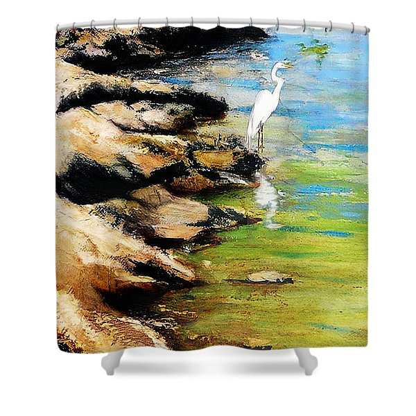 Shower Curtain featuring the painting Original Fine Art Painting Pool Edge Gulf Coast Florida by G Linsenmayer