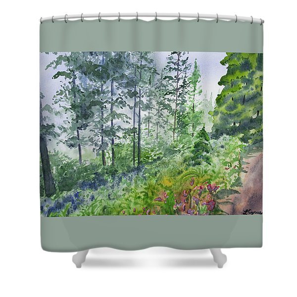 Original Watercolor - Summer Pine Forest Shower Curtain
