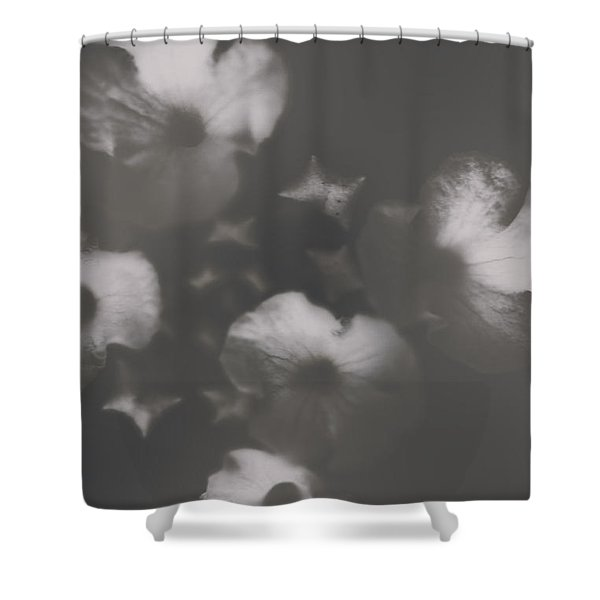 Ornate Colourless Weathered Wild Flowers Shower Curtain