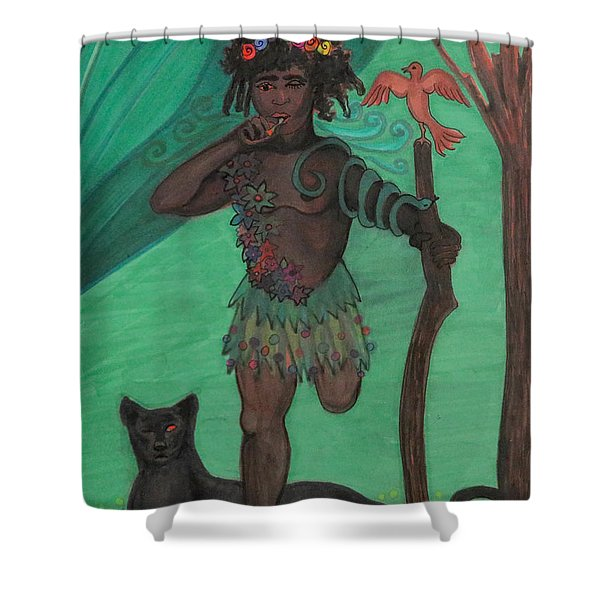 Shower Curtain featuring the drawing Osain by Gabrielle Wilson-Sealy
