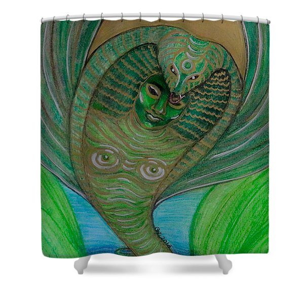Shower Curtain featuring the drawing Wadjet Osain by Gabrielle Wilson-Sealy