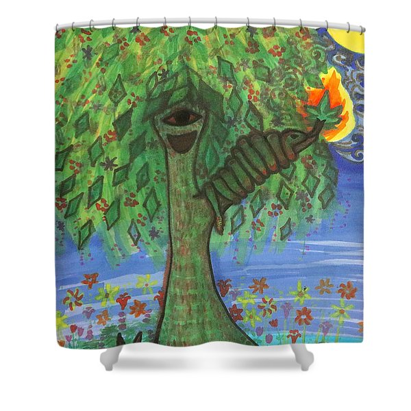 Shower Curtain featuring the drawing Osain Tree by Gabrielle Wilson-Sealy