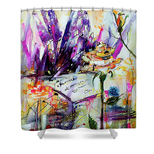 Yellow Rose For Friendship Travel Log 07 Shower Curtain