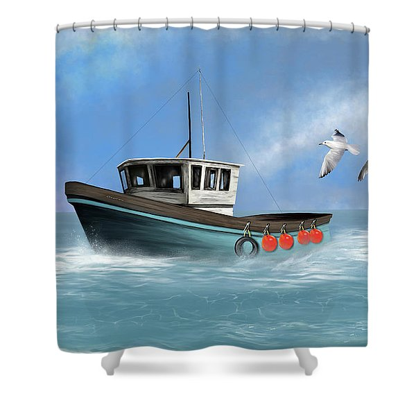 Shower Curtain featuring the digital art Osprey by Mark Taylor