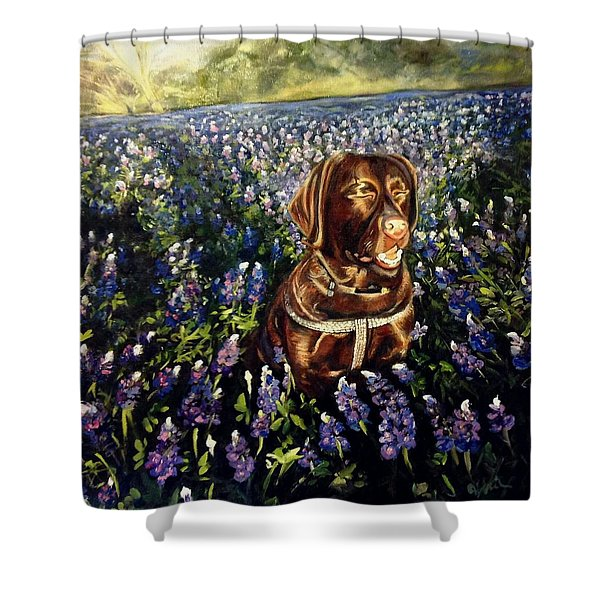Otis In The Bluebonnets Shower Curtain