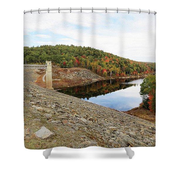 Otter Brook Dam In Autumn Shower Curtain