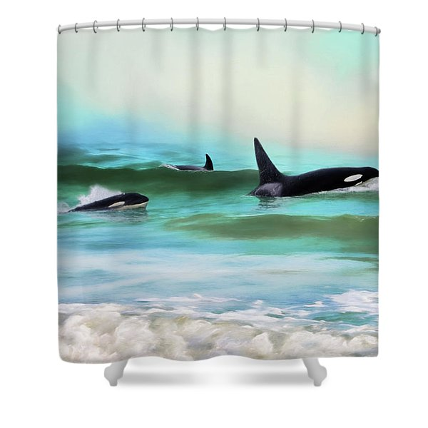 Our Family - Orca Whale Art Shower Curtain