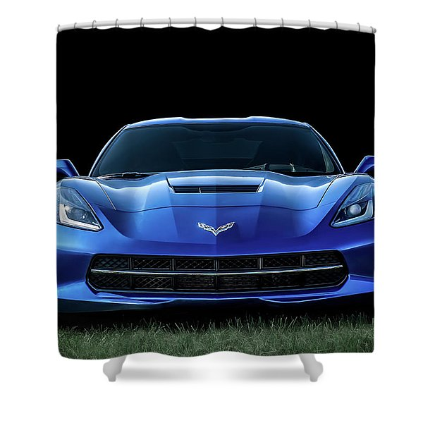 Blue 2013 Corvette Shower Curtain