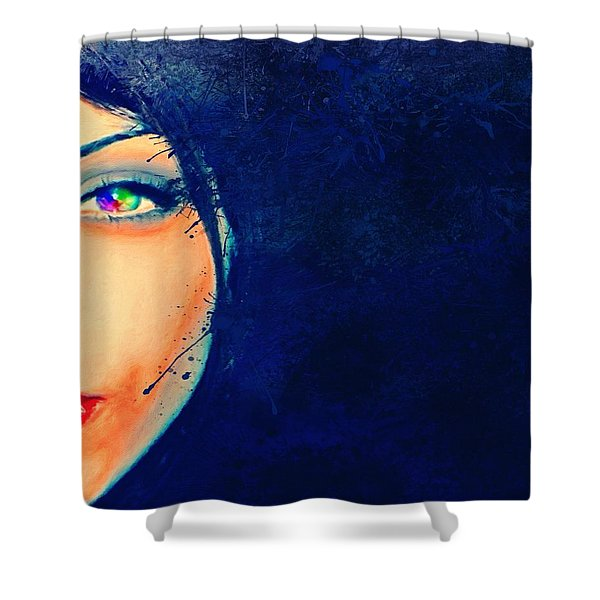 Shower Curtain featuring the painting Out Of The Blue by Mark Taylor