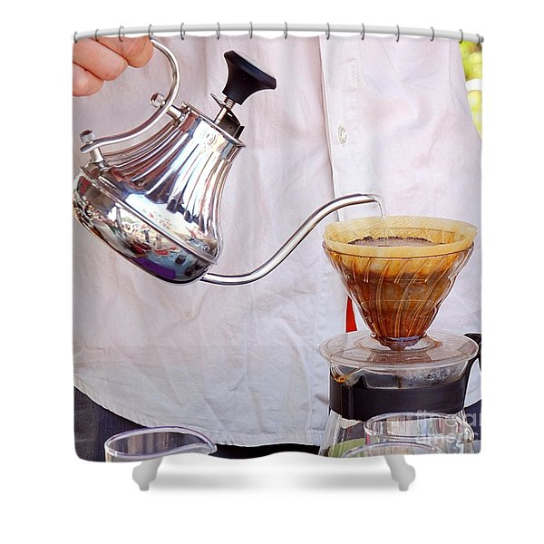 Outdoor Vendor Makes Coffee Shower Curtain