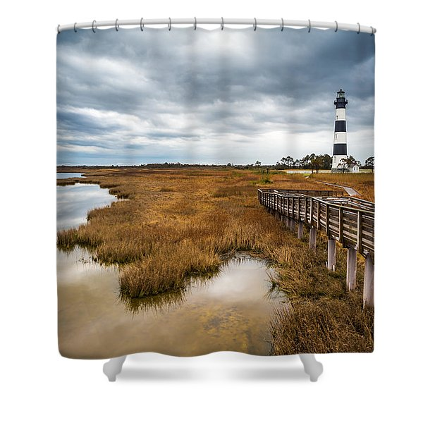 Outer Banks North Carolina Bodie Island Lighthouse Landscape Nc Shower Curtain