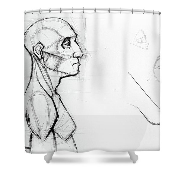 Outline Drawing Sketch Of Side Profile Of A Human Male Head And Torso. Anatomy Illustration  Shower Curtain