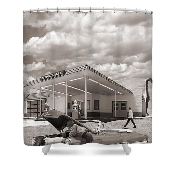 Over Heating At The Sinclair Station Sepia Shower Curtain