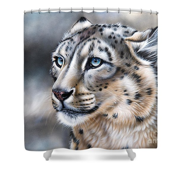 Shower Curtain featuring the painting Over The Mountain by Sandi Baker