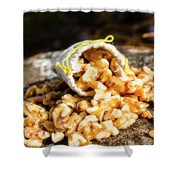 Overflowing Sack Of Fresh Walnuts Shower Curtain