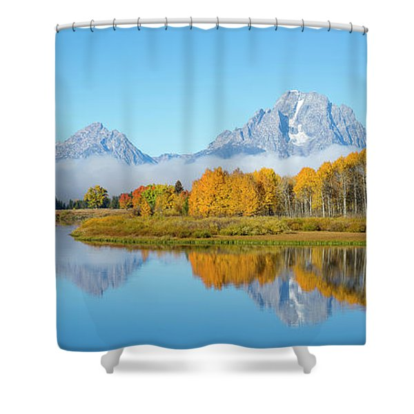 Oxbow Bend Pano In Autumn Shower Curtain