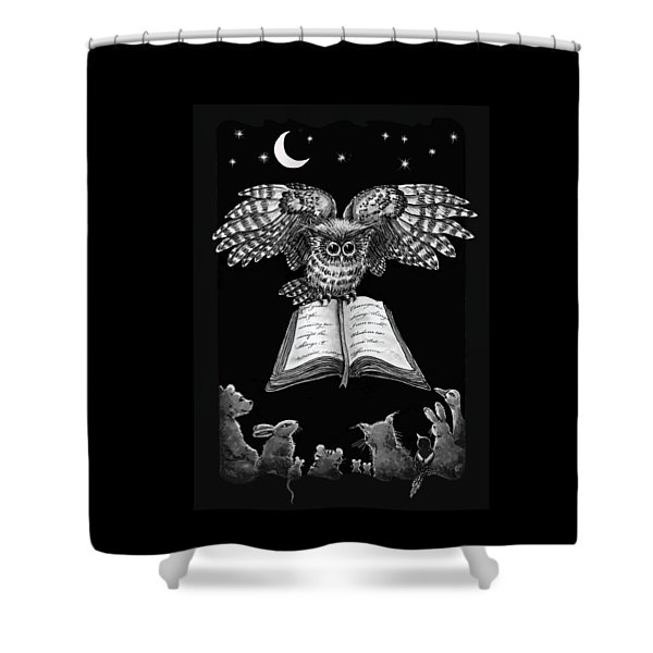 Owl And Friends Blackwhite Shower Curtain