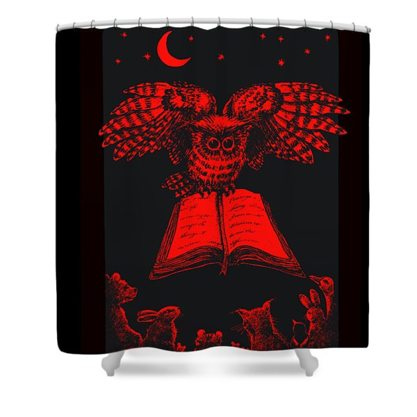 Owl And Friends Redblack Shower Curtain