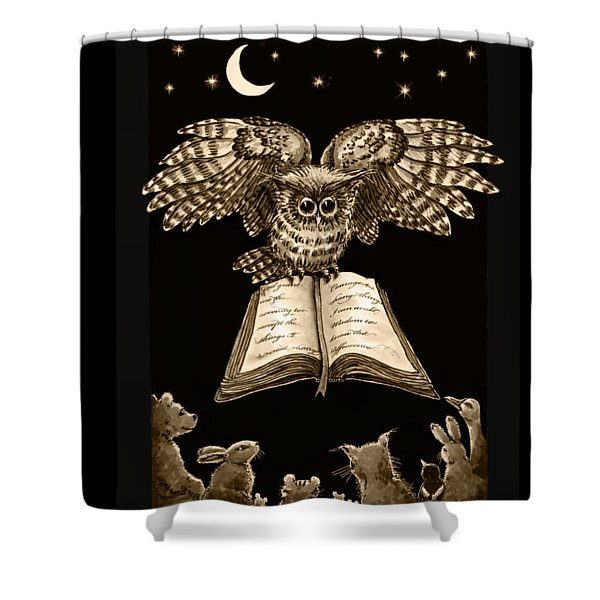Owl And Friends Sepia Shower Curtain