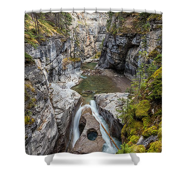 Owl Face Falls Of Maligne Canyon Shower Curtain