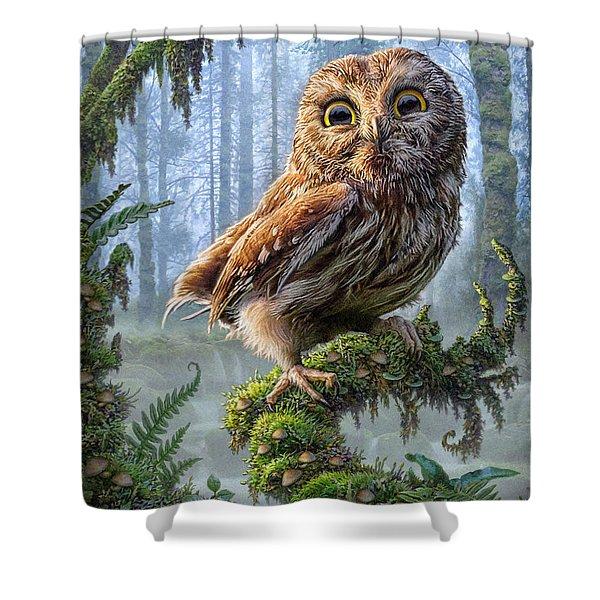 Owl Perch Shower Curtain