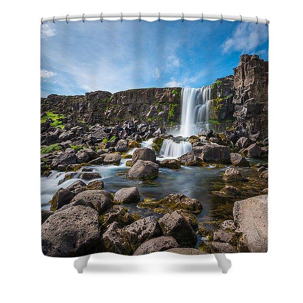 Oxararfoss Waterfall  Shower Curtain
