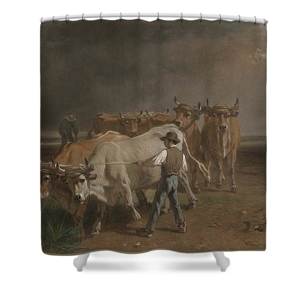 Oxen Ploughing Constant Troyon Shower Curtain